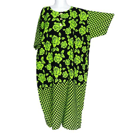 Daster Batik Hijau daster jumbo lengan pendek motif bunga teratai warna hijau