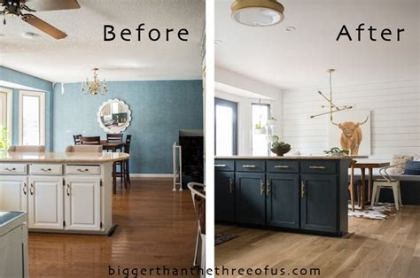 Before After Kitchen Cabinets Kitchen Reveal With Cabinets And Open Shelving Bigger Than The Three Of Us