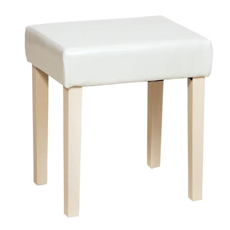 Quebec Shabby Chic Cream Faux Leather Stool   Cream