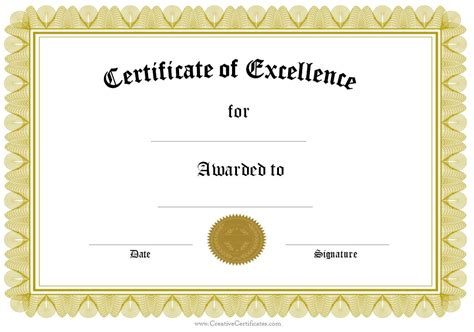 template of award certificate formal award certificate templates