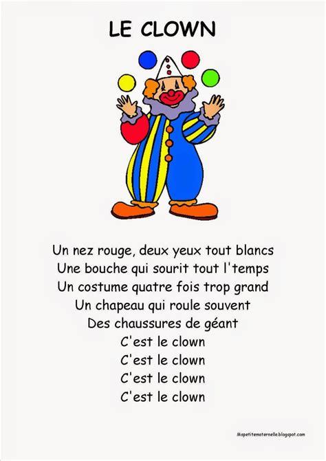 recitation sections ma petite maternelle comptine 17 le clown chants