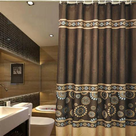 Luxurious Shower Curtains Vintage Coffee Patterned Luxury Shower Curtains