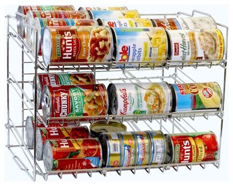 Can Rack Organizer by Decobros Supreme Stackable Can Rack Organizer Chrome