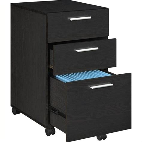 filing cabinet office file storage 3 drawer wood mobile in