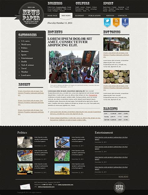 Newspaper Html Website Template Best Website Templates News Website Templates