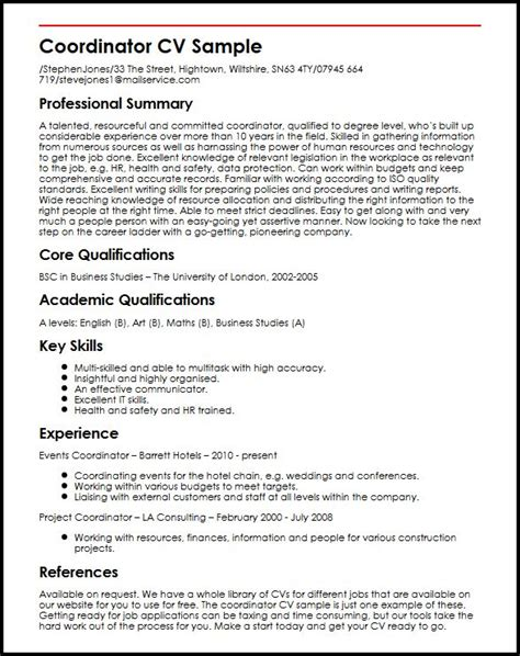 Resume Samples Executive by Coordinator Cv Sample Myperfectcv
