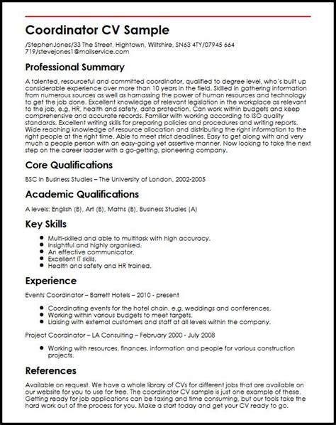 Coordinator CV Sample   MyperfectCV