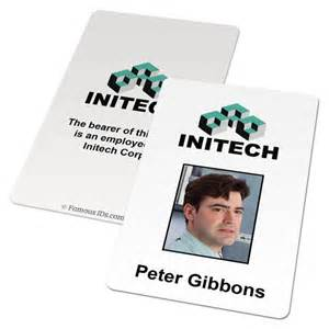 Initech id badge card office space famous ids id cards and