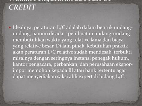 Indonesia Letter Of Credit Ppt Pengaturan Letter Of Credit Dalam Peraturan Bank Indonesia Powerpoint Presentation Id