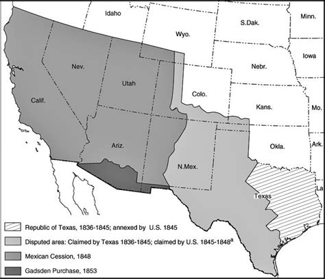 map of texas annexation scvhistory lw2577 manifest destiny annexation of southwestern u s 1845 1855