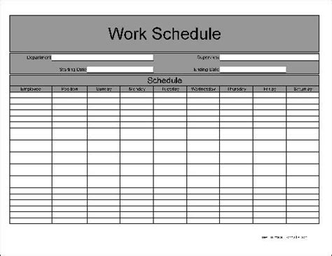 schedule form template employee weekly work schedule template weekly work