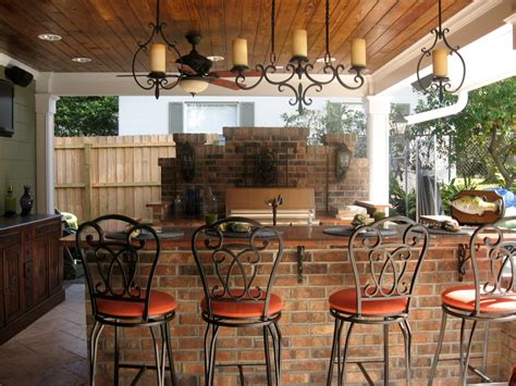 Alluring Hanging Candle Holder Above Rustic Counter Closed Patio Bar Designs