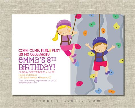 printable birthday invitations rock climbing rock wall climbing party invitation