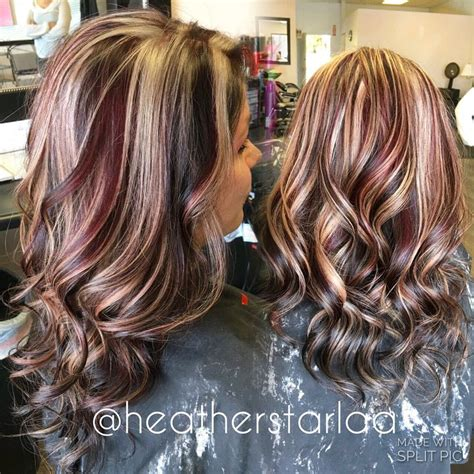 long hair big chunck color ideas for summer dark brown with red and blonde chunky highlights red hair