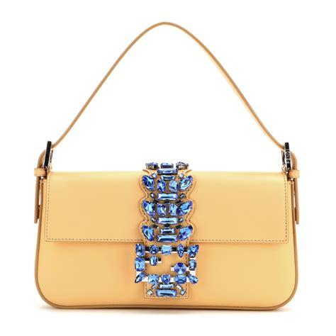 B2337 Yellow Blue Handbag fendi baguette embellished leather shoulder bag in yellow lyst