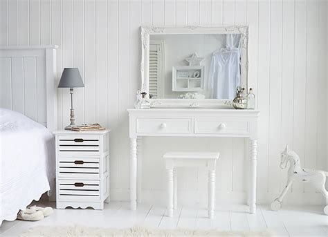 large white table l white dressing table with knob handles