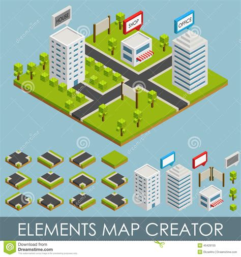 vector map generator isometric elements map creator stock vector image 45429155