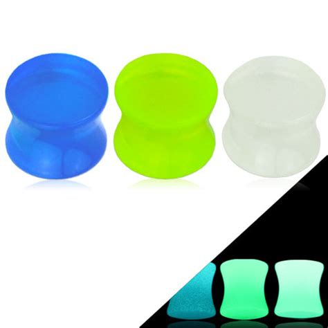 glow in the dark tattoo nz double flared glow in the dark acrylic saddle plug
