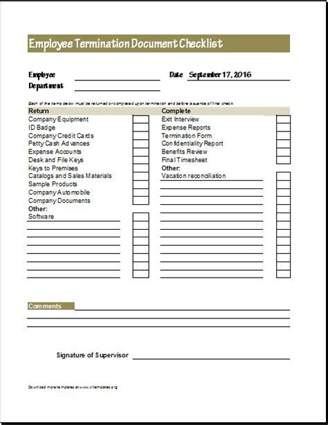employment checklist template employee termination form employee termination letter