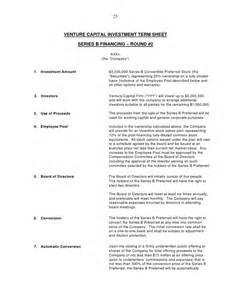 Joint Venture Term Sheet Template by Term Sheet Outline Images