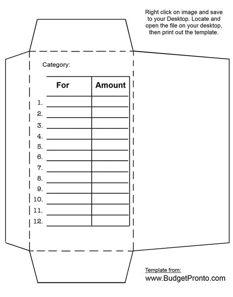 budget envelope template envelope printout template budgeting