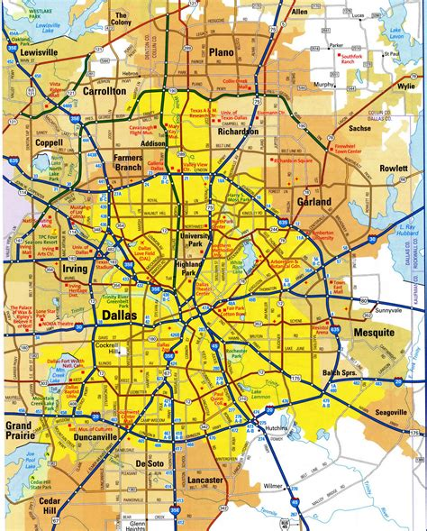 dallas texas road map highways map of dallas cityfree maps of us