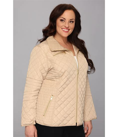 Plus Size Quilted Coat by Plus Size Quilted Jacket W Floral Lining In Khaki Lyst