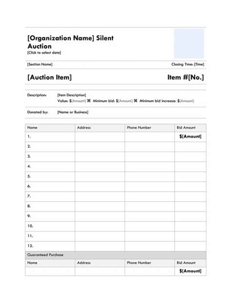 silent auction bid sheet template word and silent auction bid sheet