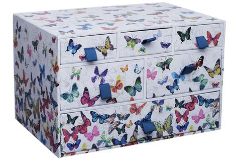 whsmith flutterby white multi drawer unit storage  floral background