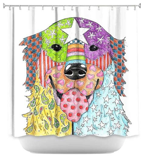 dog curtains dianoche shower curtain retriever dog modern shower