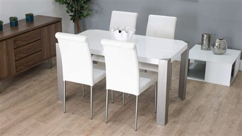 White Gloss Dining Table And Chairs by Modern White Gloss Dining Table With Real Leather Dining