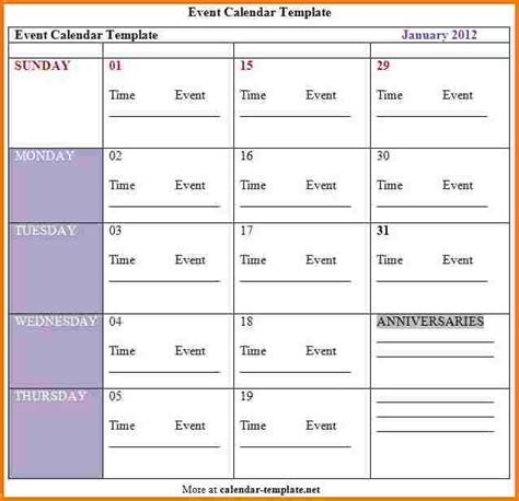 template for schedule of events schedule of events template authorization letter pdf