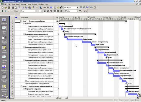 Пример графика в ms project