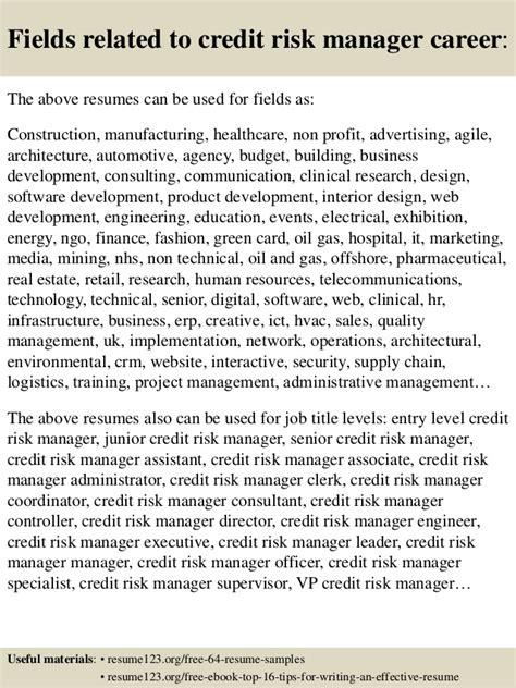 top 8 credit risk manager resume sles