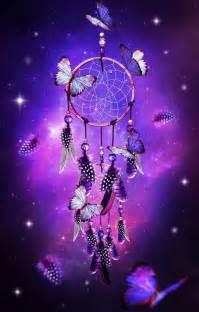 dream catcher with butterflies purple background