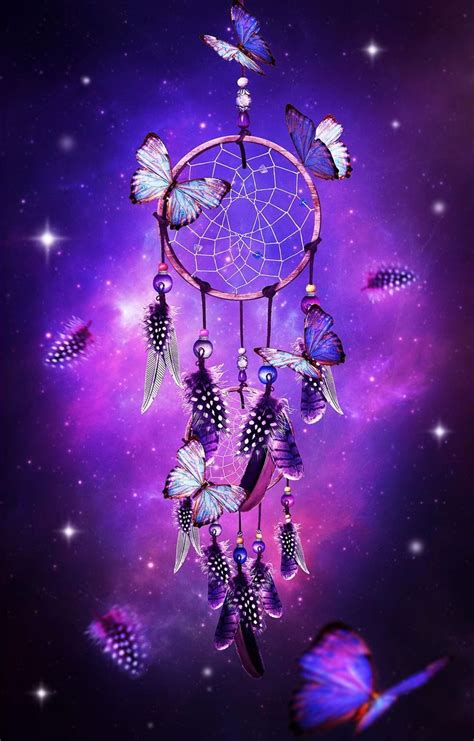 Butterfly Dreams catcher with butterflies purple background