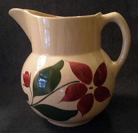 "watt pottery ""#17 starflower"" pattern pitcher 5 pint"