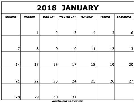 january 2018 calendar template free printable calendar com