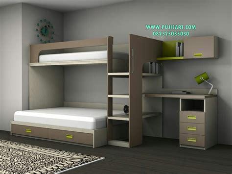 Tempat Tidur Anak Tingkat Ranjang 2 Susun Putih Kayu Mahoni ranjang susun anak dengan meja belajar ranjang susun anak pujieart furniture jepara
