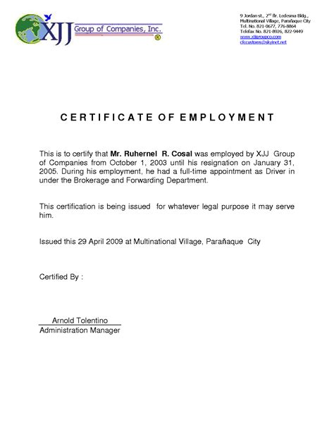 7 certificate employment letter cashier resumes