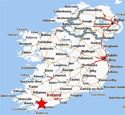 map of ireland with major cities map of southern ireland cities images