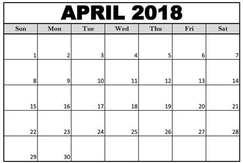 Free April 2018 Calendar Printable Printable Templates Letter Calendar Word Excel Free Calendar 2018 Template