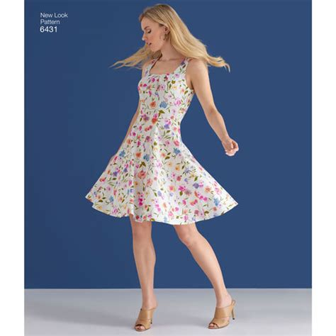 new look 6123 misses dress pattern 6431 misses dresses with skirt and neckline