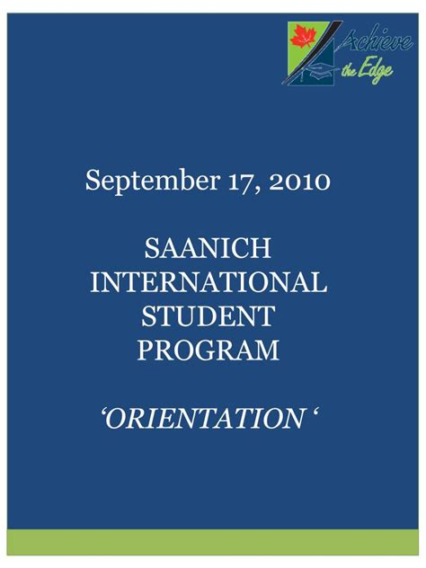 Orientation Programme For Mba Students Ppt by Ppt September 17 2010 Saanich International Student