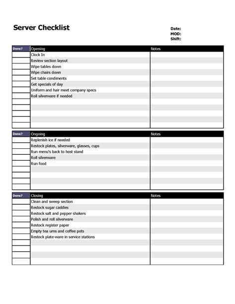 restaurant server schedule template restaurant server checklist form organizing