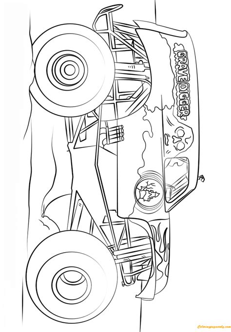 grave digger truck coloring pages big grave digger truck coloring page free