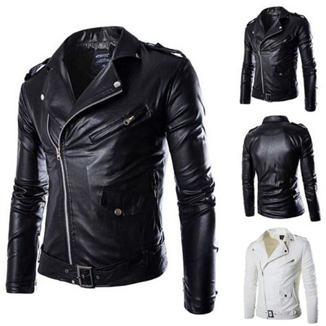 motorcycle coats fashion mens pu leather jacket lapel biker motorcycle