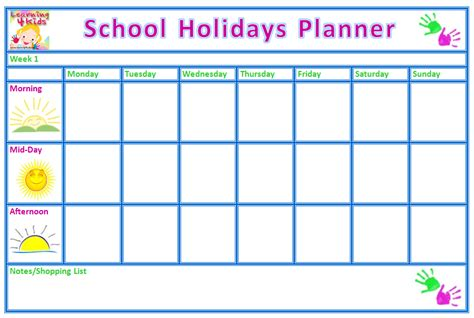 printable school holiday planner free printable school holiday planner learning 4 kids