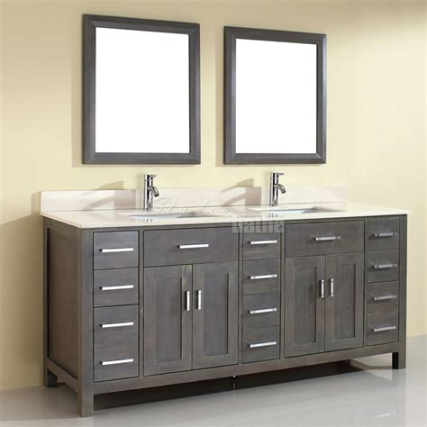 Double Sink Bathroom Vanity Kalize 75 French Gray Finish Gray Bathroom Vanities