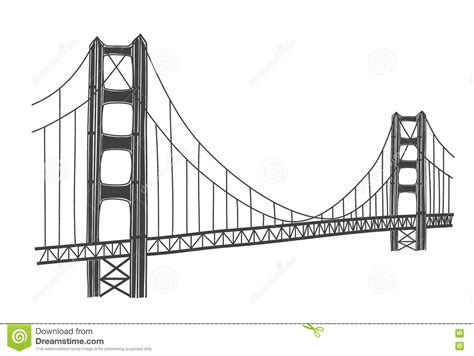 illustration of golden gate bridge san francisco stock